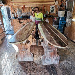 Graduates of a wooden surfboard workshop run by Burnett Wood Surfboards.