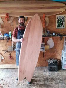 A graduate of a wooden surfboard workshop run by Burnett Wood Surfboards.